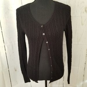 Old Navy Black Cable Knit Cardigan